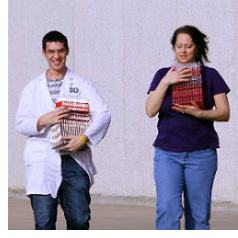 students with lab supplies