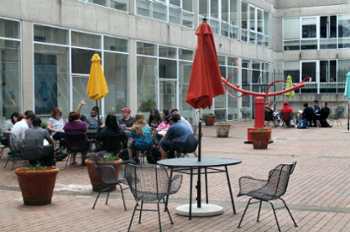 students in Faner courtyard